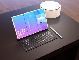タブレットPCにスマート家電を制御する画面が表示されているのイラスト素材 [FYI04648677]
