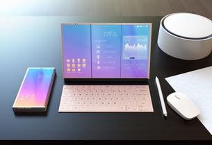 タブレットPCにスマート家電を制御する画面が表示されているのイラスト素材 [FYI04648680]