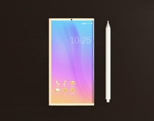 タッチペンとフルスクリーンのスマートフォンのイラスト素材 [FYI04648681]