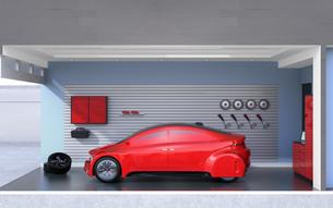 パステルカラーのガレージに止まっている赤色のクルマのイメージの写真素材 [FYI04648682]