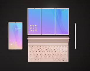 スマートフォン、タブレットPC、キーボード、タッチペンのイメージの写真素材 [FYI04648683]