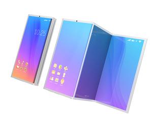 折りたたみ式スマートフォンと展開後のタブレット状態のイメージの写真素材 [FYI04648685]