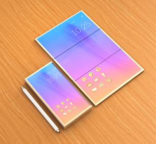 タッチペン、折りたたみ式スマートフォンとタブレット状に展開したスマートフォンのイラスト素材 [FYI04648687]