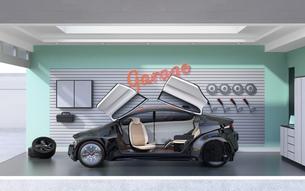 パステルカラーのガレージに止まっている黒色のクルマのイメージ。見せるガレージのコンセプトの写真素材 [FYI04648688]