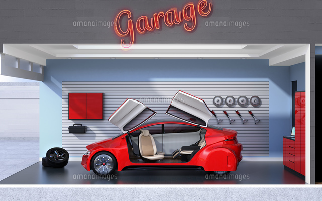 パステルカラーのガレージに止まっている赤色のクルマのイメージ。見せるガレージのコンセプトの写真素材 [FYI04648689]