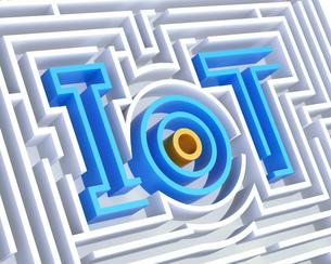 迷宮に組み込まれている「IoT」文字。モノのインターネットのコンセプトのイラスト素材 [FYI04648704]