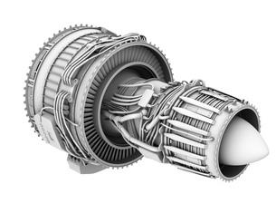 ターボファンエンジンのグレイシェーディングイメージの写真素材 [FYI04648706]