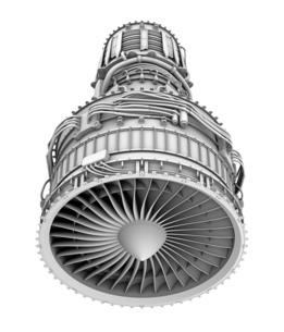 ターボファンエンジンのグレイシェーディングイメージの写真素材 [FYI04648714]