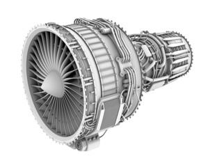 ターボファンエンジンのグレイシェーディングイメージの写真素材 [FYI04648716]