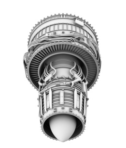 ターボファンエンジンのグレイシェーディングイメージの写真素材 [FYI04648718]