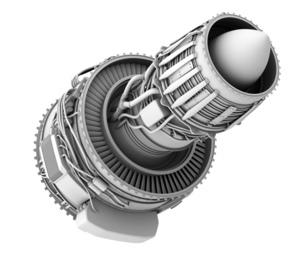 ターボファンエンジンのグレイシェーディングイメージの写真素材 [FYI04648720]