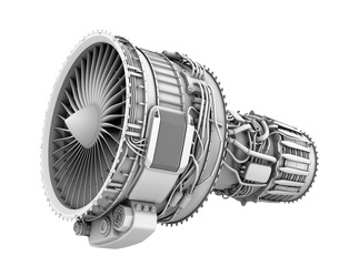 ターボファンエンジンのグレイシェーディングイメージの写真素材 [FYI04648723]