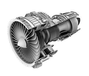 ターボファンエンジンのグレイシェーディングカットモデルイメージの写真素材 [FYI04648725]