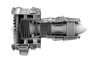 ターボファンエンジンのグレイシェーディングカットモデルイメージの写真素材 [FYI04648728]
