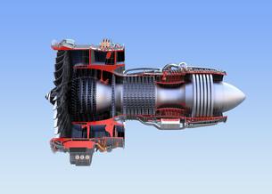 ワイヤフレーム付きのターボファンエンジンの3Dカットモデルイメージのイラスト素材 [FYI04648733]