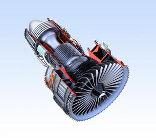ターボファンエンジンの3Dカットモデルイメージの写真素材 [FYI04648737]