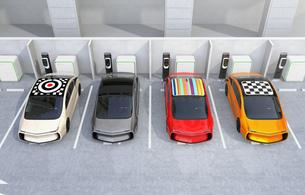 電気自動車専用駐車場のイメージの写真素材 [FYI04648738]