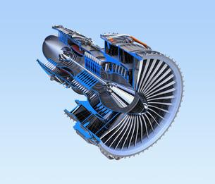ワイヤフレーム付きのターボファンエンジンの3Dカットモデルイメージのイラスト素材 [FYI04648739]