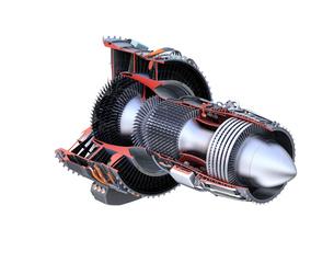 ワイヤフレーム付きのターボファンエンジンの3Dカットモデルイメージのイラスト素材 [FYI04648740]