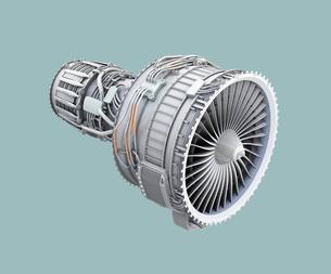 ワイヤフレーム付きのターボファンエンジンのクレイモデルイメージのイラスト素材 [FYI04648743]