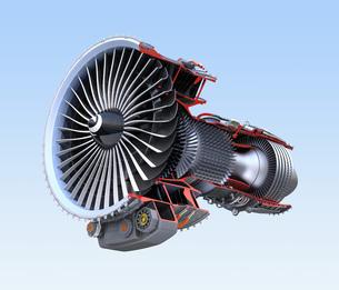 ワイヤフレーム付きのターボファンエンジンの3Dカットモデルイメージのイラスト素材 [FYI04648745]