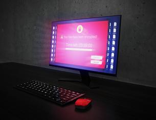 ランサムウェア被害を受けたパソコンの画面のイメージの写真素材 [FYI04648746]