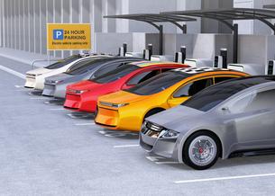 電気自動車専用駐車場のイメージの写真素材 [FYI04648747]