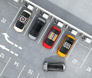 電気自動車専用駐車場の鳥瞰イメージの写真素材 [FYI04648748]