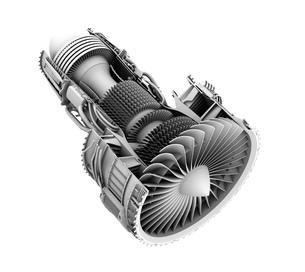 ターボファンエンジンのグレイシェーディングカットモデルイメージの写真素材 [FYI04648749]