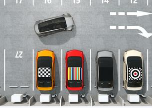 電気自動車専用駐車場の鳥瞰イメージの写真素材 [FYI04648751]