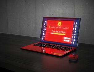 ランサムウェア被害を受けたノートパソコンの画面のイメージの写真素材 [FYI04648754]