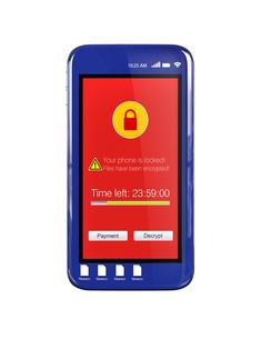 ランサムウェア被害を受けたスマートフォン画面のイメージの写真素材 [FYI04648756]