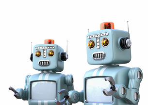 レトロロボットたちが楽しいおしゃべりに夢中の写真素材 [FYI04648764]