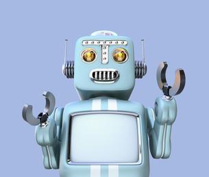 レトロロボットの正面イメージ。モニター部にコピースペースとして利用可能の写真素材 [FYI04648767]