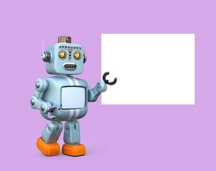 コピースペース付きのホワイトボードを指で指しているレトロロボットの写真素材 [FYI04648769]