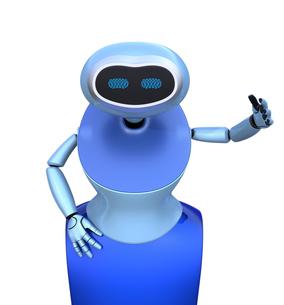 人型ロボットがお辞儀をしているの写真素材 [FYI04648778]