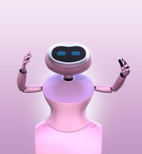 ピンク色の背景に白いヒューマノイドロボットがお辞儀をしているの写真素材 [FYI04648781]
