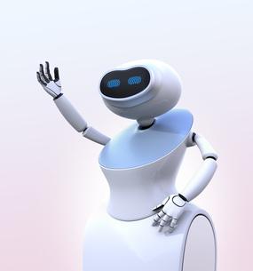 ピンク色の背景に白いヒューマノイドロボットがお辞儀をしているの写真素材 [FYI04648788]