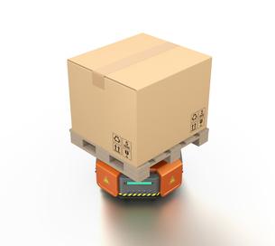 段ボール箱を運んでいる自動運搬ロボットのイメージの写真素材 [FYI04648794]