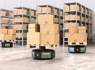 荷物を運搬する自動運搬ロボット。物流支援ロボットのコンセプトの写真素材 [FYI04648798]