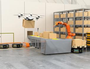 最新物流自動化装置のロボットアーム、自動運搬ロボット及びドローンの連携作業のイメージの写真素材 [FYI04648809]