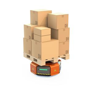 荷物を運搬する自動運搬ロボットの正面イメージの写真素材 [FYI04648818]