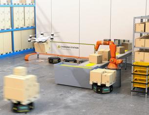 最新物流自動化装置のロボットアーム、自動運搬ロボット及びドローンの連携作業のイメージの写真素材 [FYI04648819]