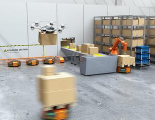最新物流自動化装置のロボットアーム、自動運搬ロボット及びドローンの連携作業のイメージの写真素材 [FYI04648822]