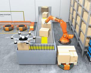 最新物流自動化装置のロボットアーム、自動運搬ロボット及びドローンの連携作業のイメージの写真素材 [FYI04648823]