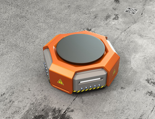 オレンジ色の物流運搬支援ロボットのイメージの写真素材 [FYI04648824]