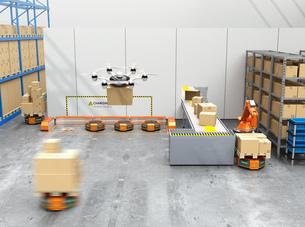 最新物流自動化装置のロボットアーム、自動運搬ロボット及びドローンの連携作業のイメージの写真素材 [FYI04648825]