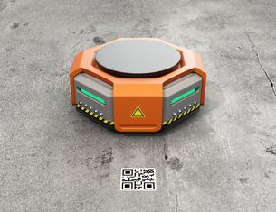 オレンジ色の物流運搬支援ロボットのイメージの写真素材 [FYI04648826]