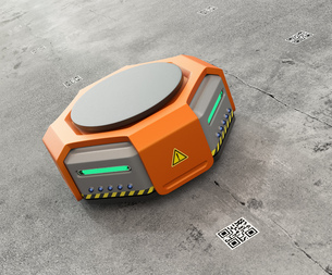 オレンジ色の物流運搬支援ロボットのイメージの写真素材 [FYI04648829]