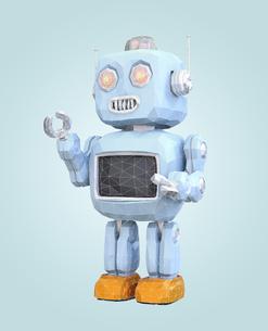 ワイヤフレーム付きのローポリスタイルロボットのイラスト素材 [FYI04648842]
